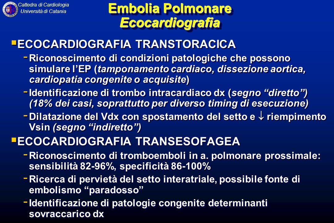 Cattedra di Cardiologia Università di Catania Embolia Polmonare Ecocardiografia ECOCARDIOGRAFIA TRANSTORACICA - Riconoscimento di condizioni patologic