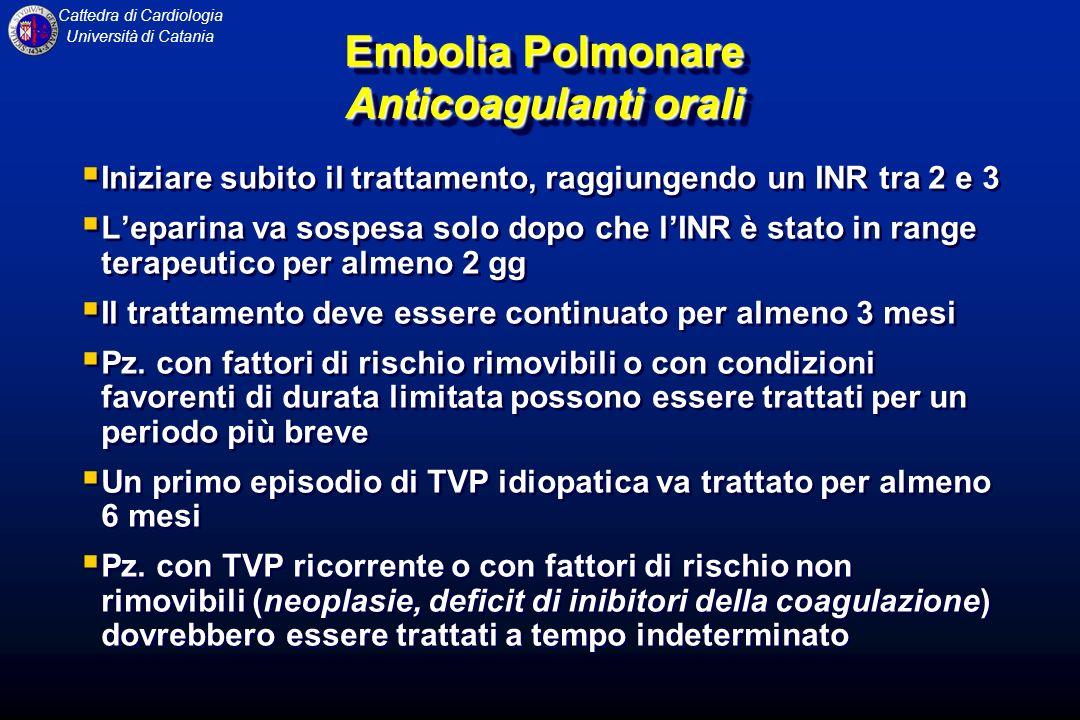 Cattedra di Cardiologia Università di Catania Embolia Polmonare Anticoagulanti orali Iniziare subito il trattamento, raggiungendo un INR tra 2 e 3 Lep