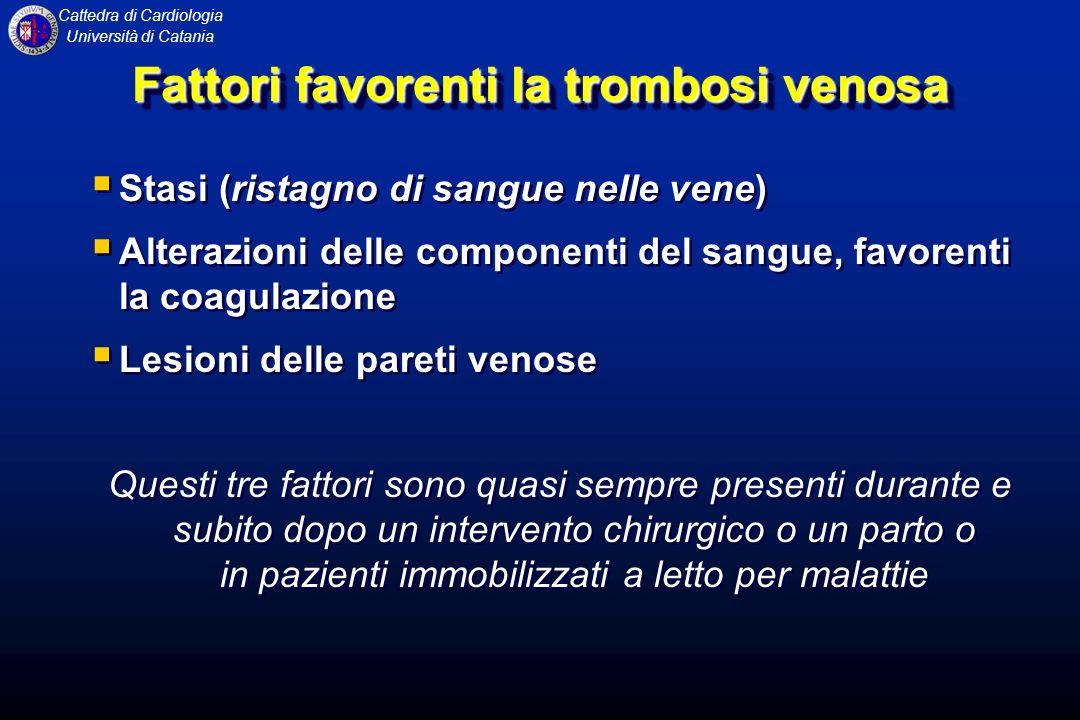 Cattedra di Cardiologia Università di Catania Fattori favorenti la trombosi venosa Stasi (ristagno di sangue nelle vene) Alterazioni delle componenti