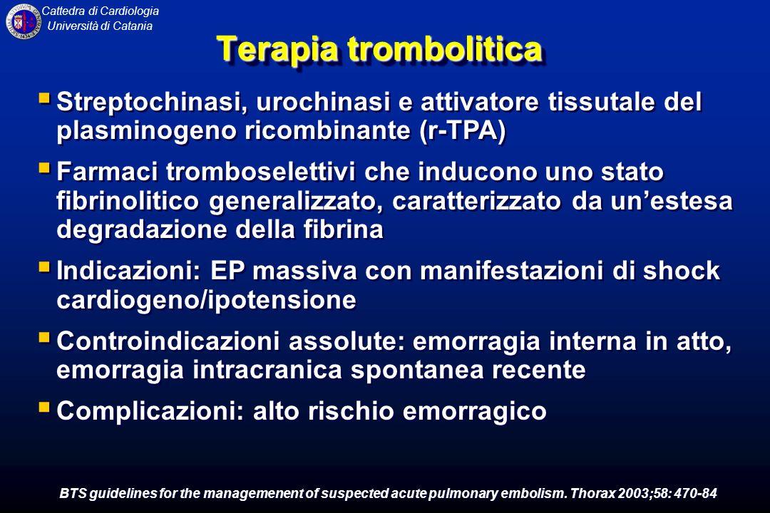 Cattedra di Cardiologia Università di Catania Terapia trombolitica Streptochinasi, urochinasi e attivatore tissutale del plasminogeno ricombinante (r-