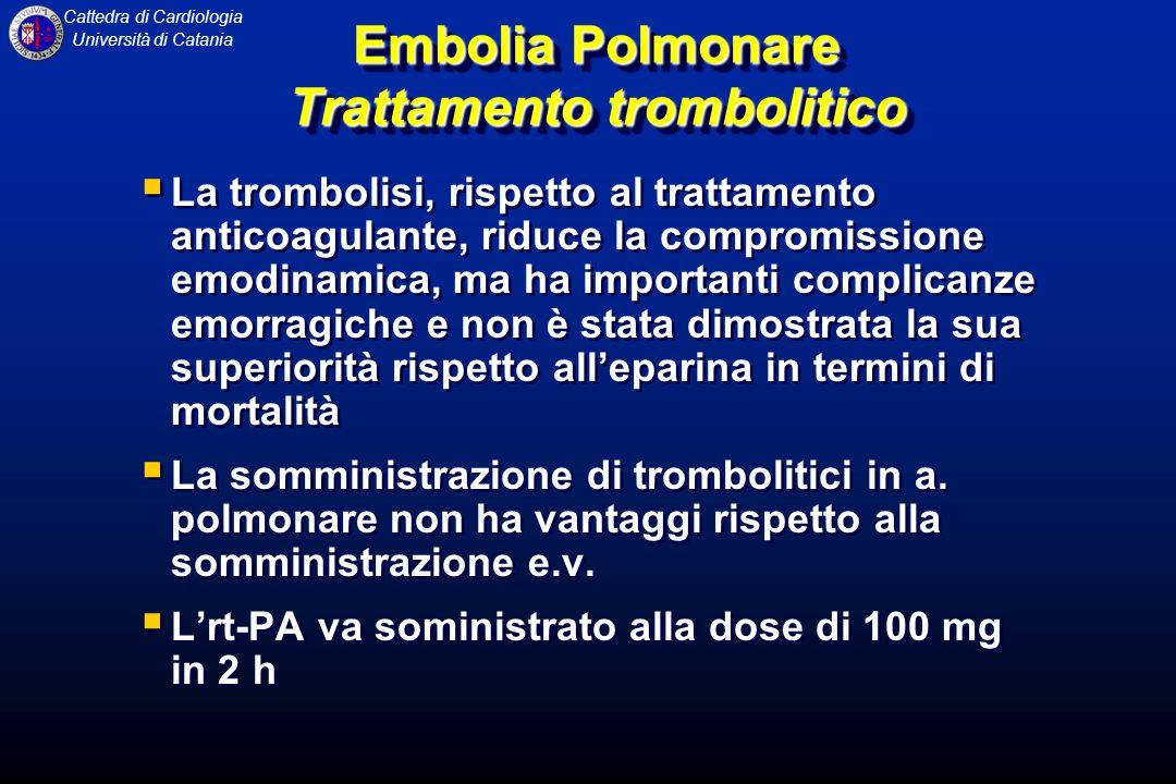 Cattedra di Cardiologia Università di Catania Embolia Polmonare Trattamento trombolitico La trombolisi, rispetto al trattamento anticoagulante, riduce