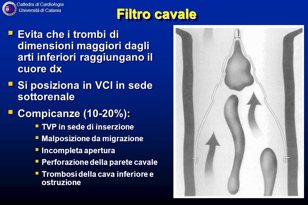 Cattedra di Cardiologia Università di Catania Filtro cavale Evita che i trombi di dimensioni maggiori dagli arti inferiori raggiungano il cuore dx Si