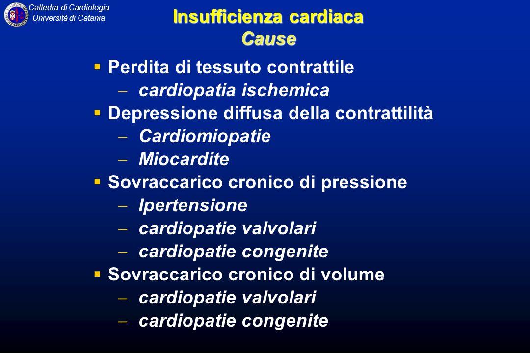 Cattedra di Cardiologia Università di Catania Insufficienza cardiaca Cause Perdita di tessuto contrattile cardiopatia ischemica Depressione diffusa de