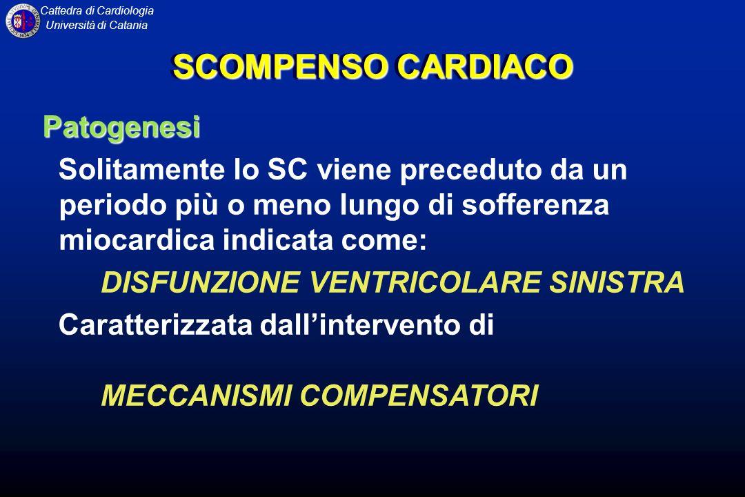 Cattedra di Cardiologia Università di Catania SCOMPENSO CARDIACO Patogenesi Solitamente lo SC viene preceduto da un periodo più o meno lungo di soffer