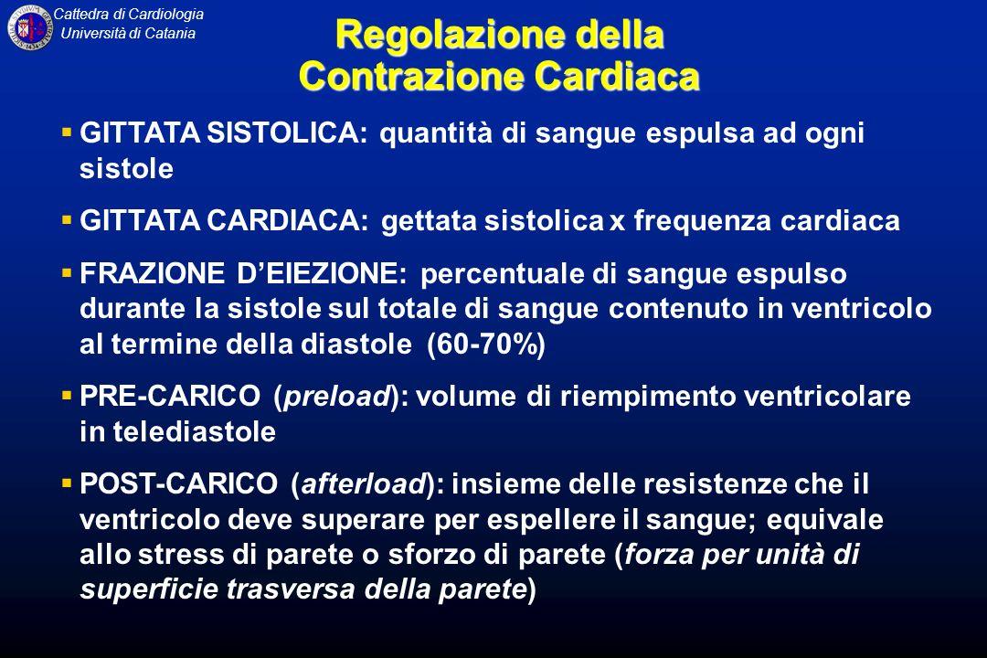 Cattedra di Cardiologia Università di Catania Regolazione della Contrazione Cardiaca GITTATA SISTOLICA: quantità di sangue espulsa ad ogni sistole GIT