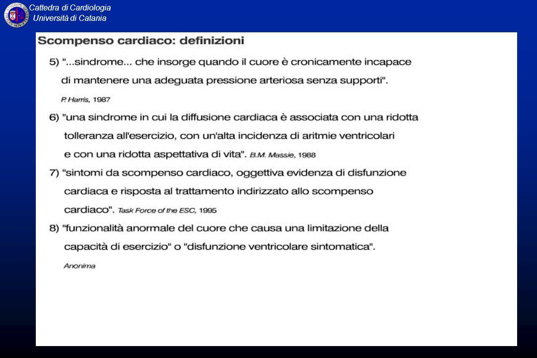 Cattedra di Cardiologia Università di Catania Insufficienza cardiaca Stato fisiopatologico in cui il cuore non riesce a pompare sangue in quantità adeguata alle richieste metaboliche dellorganismo, oppure può farlo solo con un aumento della pressione di riempimento.