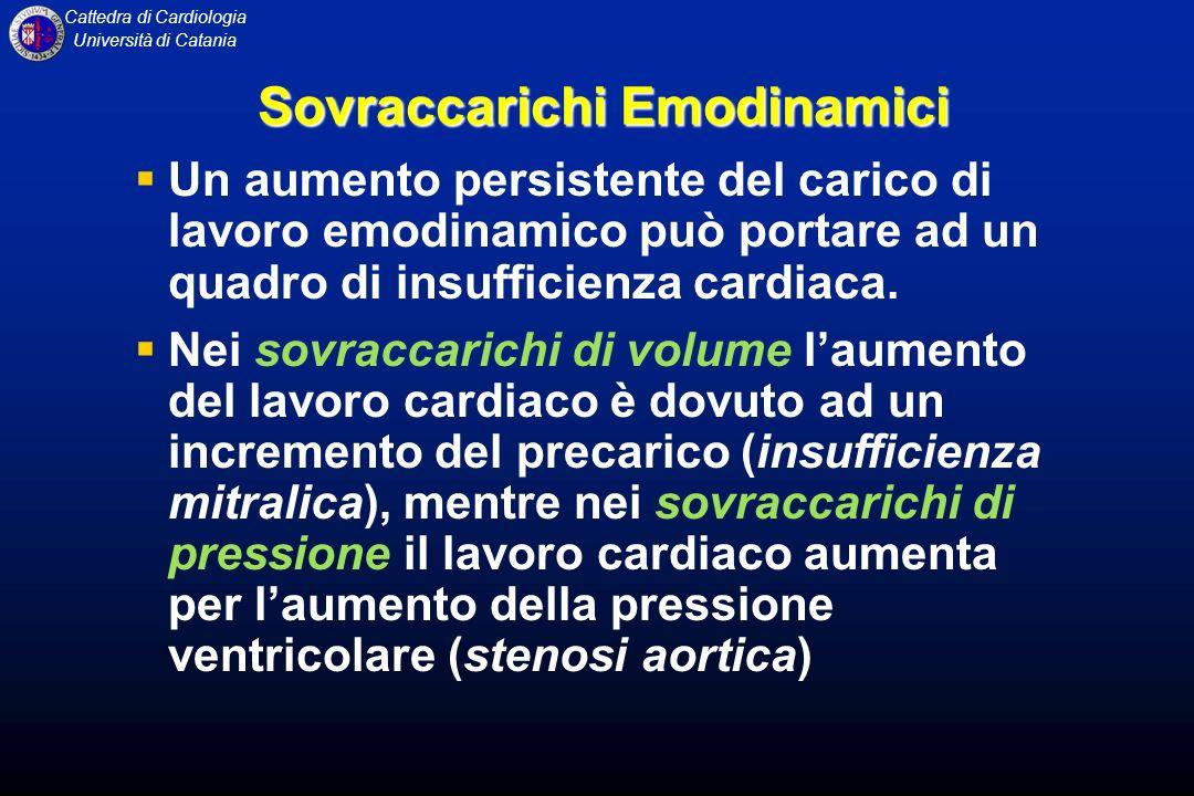 Cattedra di Cardiologia Università di Catania Sovraccarichi Emodinamici Un aumento persistente del carico di lavoro emodinamico può portare ad un quad