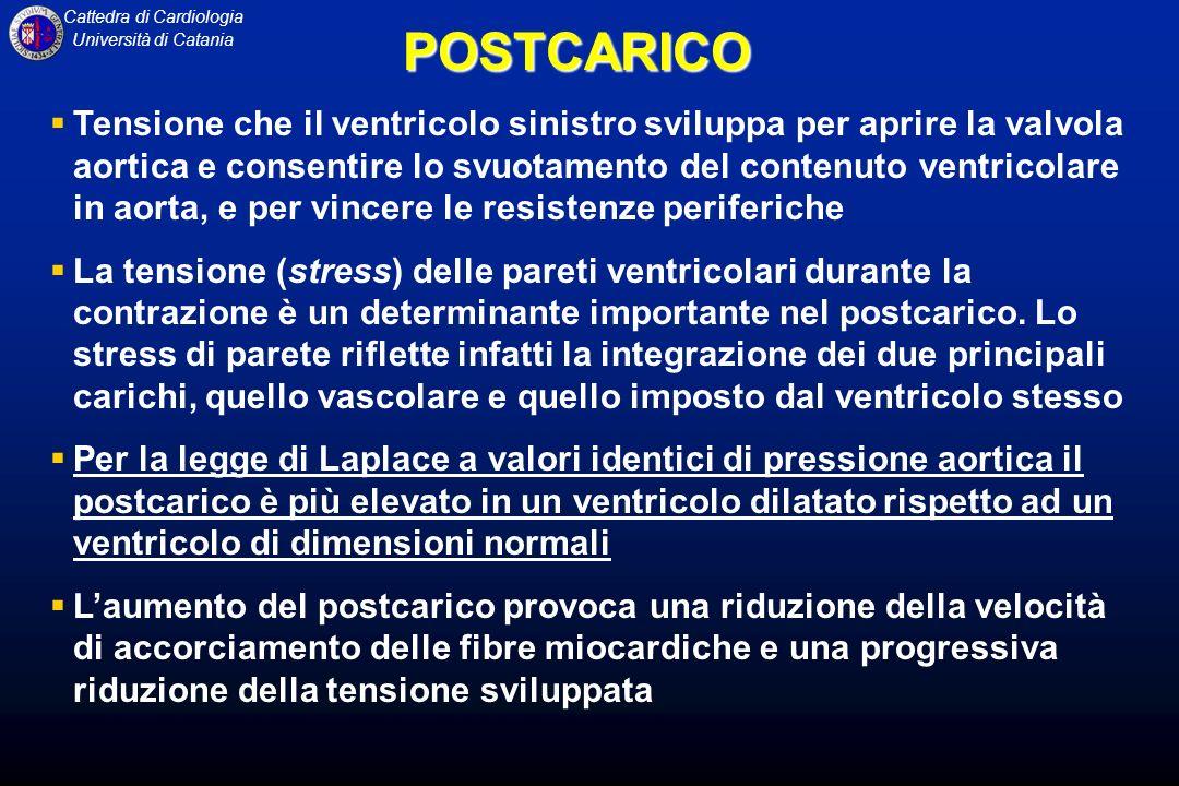 Cattedra di Cardiologia Università di CataniaPOSTCARICO Tensione che il ventricolo sinistro sviluppa per aprire la valvola aortica e consentire lo svu
