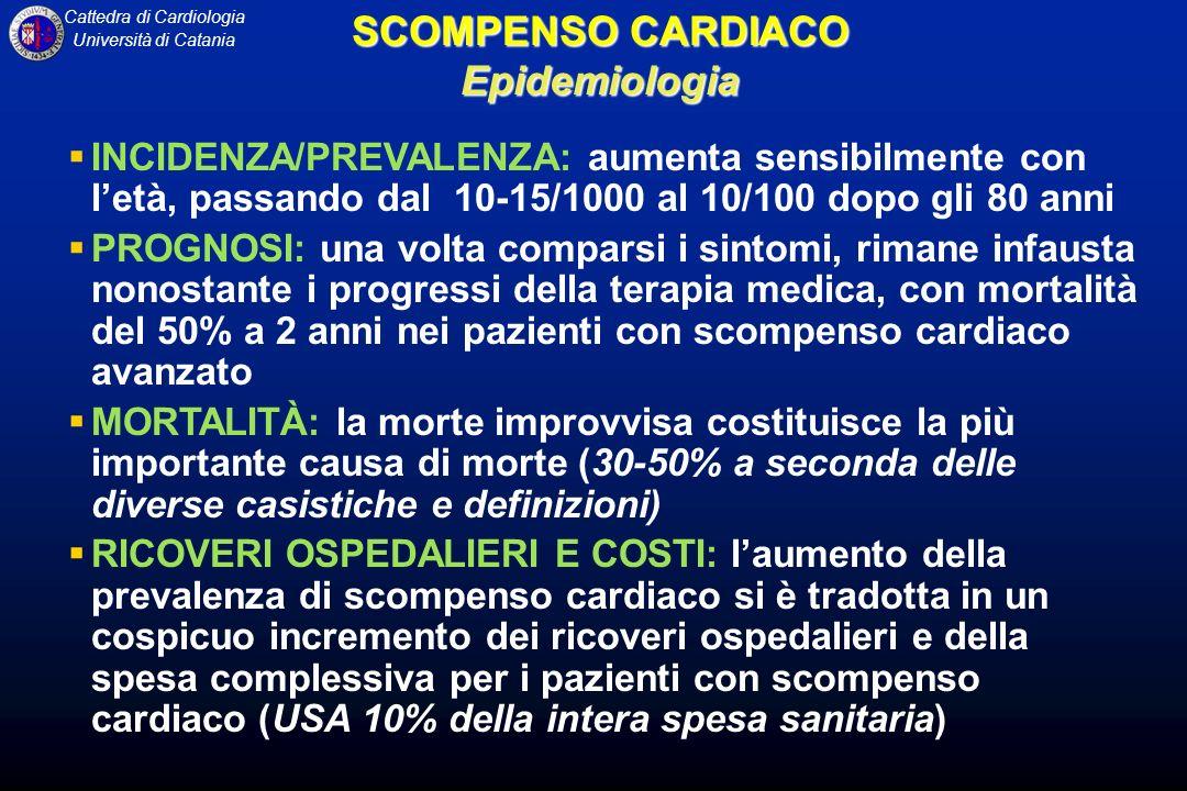 Cattedra di Cardiologia Università di Catania Lo scompenso cardiaco congestizio costituisce una sindrome clinica complessa caratterizzata da anomalie della funzione ventricolare sinistra e della regolazione neuro-umorale, che sono accompagnate da intolleranza allo sforzo, ritenzione idrica e ridotta sopravvivenza.