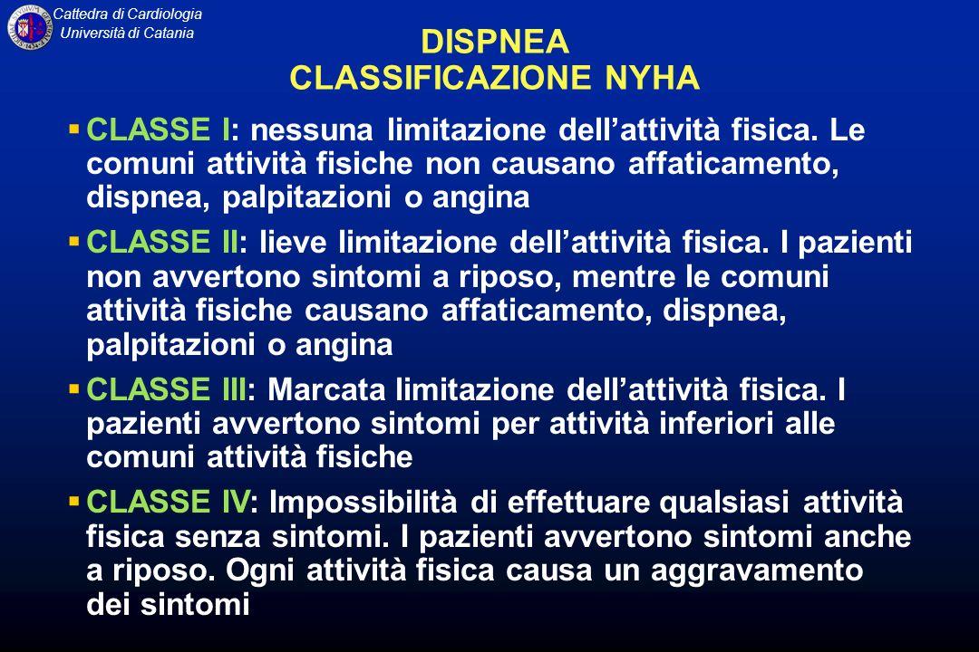 Cattedra di Cardiologia Università di Catania DISPNEA CLASSIFICAZIONE NYHA CLASSE I: nessuna limitazione dellattività fisica. Le comuni attività fisic