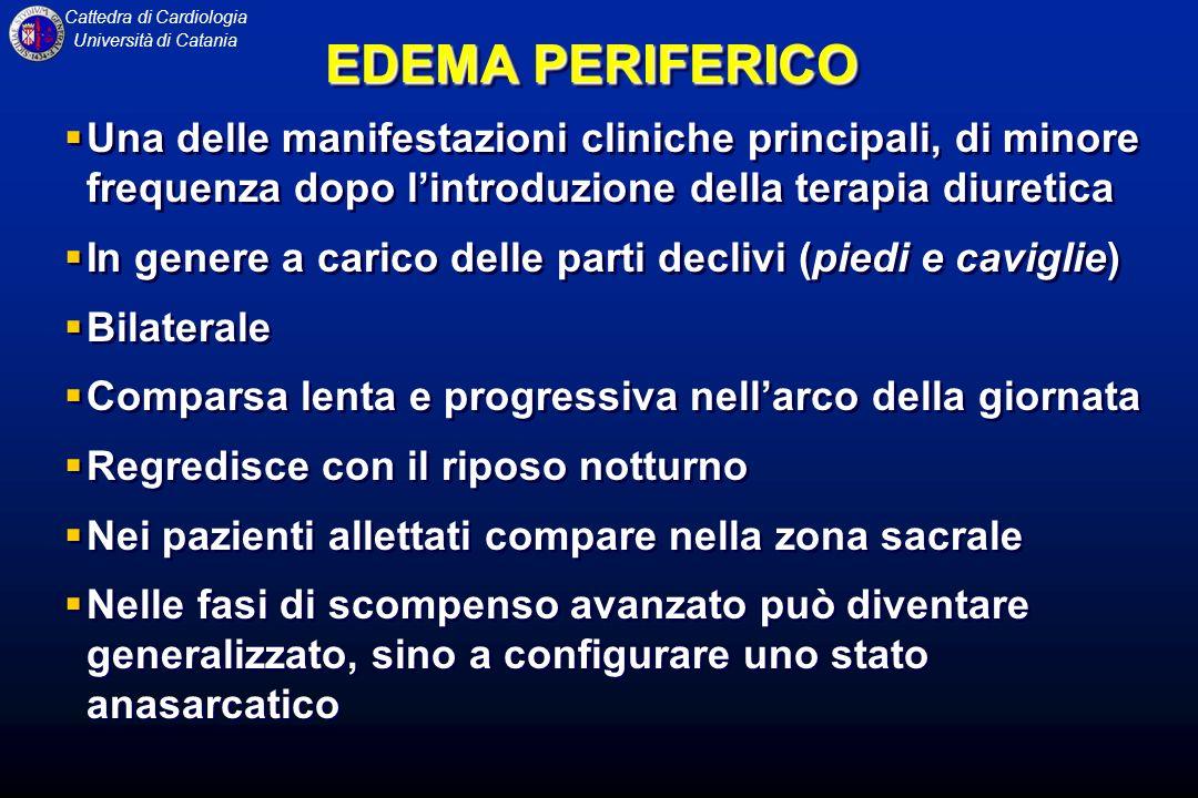 Cattedra di Cardiologia Università di Catania EDEMA PERIFERICO Una delle manifestazioni cliniche principali, di minore frequenza dopo lintroduzione de