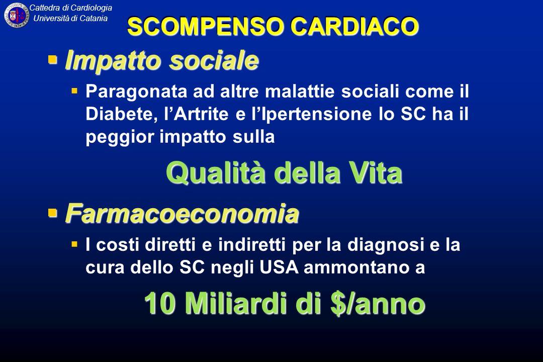 Cattedra di Cardiologia Università di Catania Impatto sociale Impatto sociale Paragonata ad altre malattie sociali come il Diabete, lArtrite e lIperte