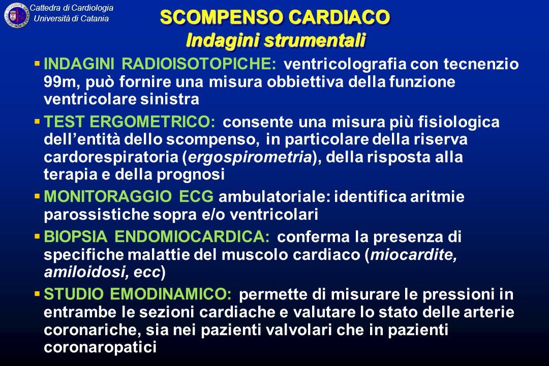 Cattedra di Cardiologia Università di Catania INDAGINI RADIOISOTOPICHE: ventricolografia con tecnenzio 99m, può fornire una misura obbiettiva della fu