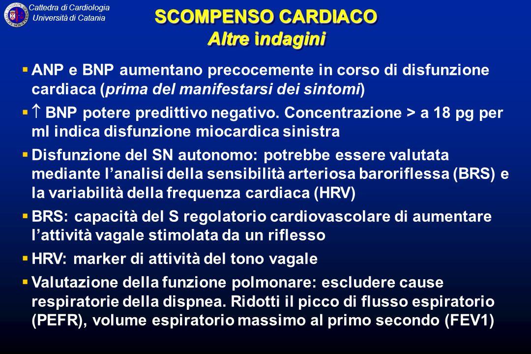 Cattedra di Cardiologia Università di Catania ANP e BNP aumentano precocemente in corso di disfunzione cardiaca (prima del manifestarsi dei sintomi) B