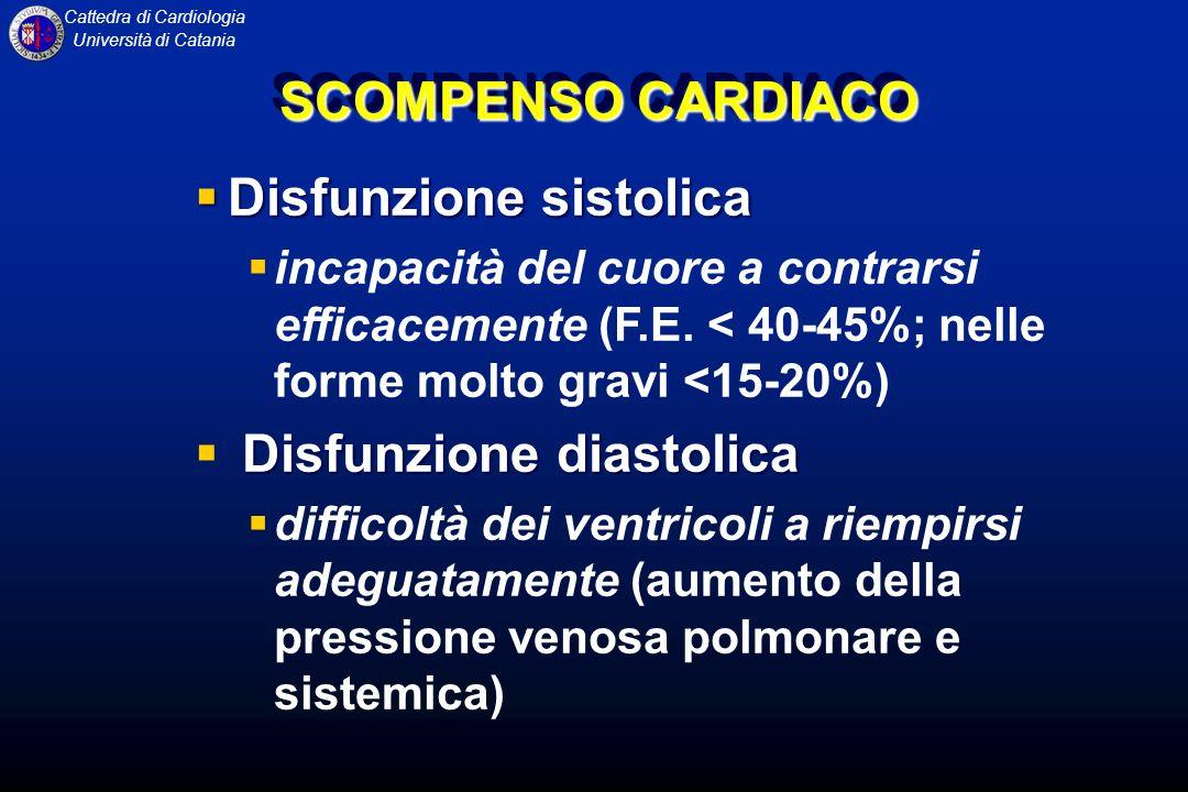 Cattedra di Cardiologia Università di Catania SCOMPENSO CARDIACO EZIOPATOGENESI Il quadro clinico dello scompenso può derivare da: malattie primitive del miocardio (insufficienza miocardica), nelle quali il meccanismo fisiopatologico essenziale è costituito da unalterazione funzionale sistolica (ridotta espulsione di sangue dai ventricoli per ridotta velocità e ridotta forza di contrazione) e/o diastolica (ridotto riempimento dei ventricoli per effetto di ridotta distensibilità e di un rallentato o parziale rilassamento) cause non miocardiche (insufficienza cardiaca), ovvero condizioni anatomiche o funzionali che non interessano prevalentemente la funzione delle fibrocellule muscolari, almeno inizialmente, ma limitano la performance cardiaca