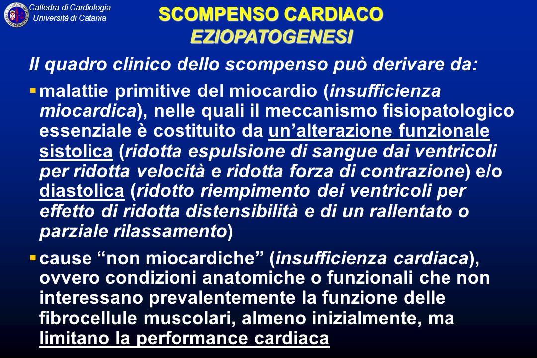 Cattedra di Cardiologia Università di Catania SCOMPENSO CARDIACO EZIOPATOGENESI Il quadro clinico dello scompenso può derivare da: malattie primitive