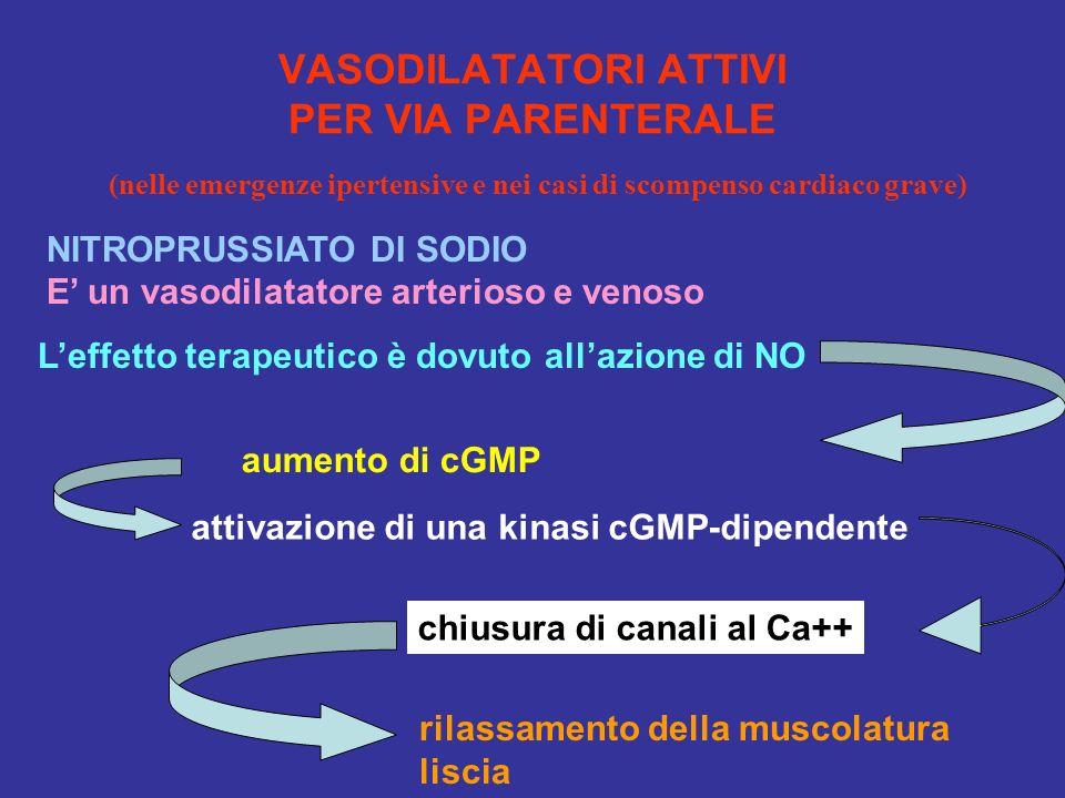 VASODILATATORI ATTIVI PER VIA PARENTERALE (nelle emergenze ipertensive e nei casi di scompenso cardiaco grave) NITROPRUSSIATO DI SODIO E un vasodilata