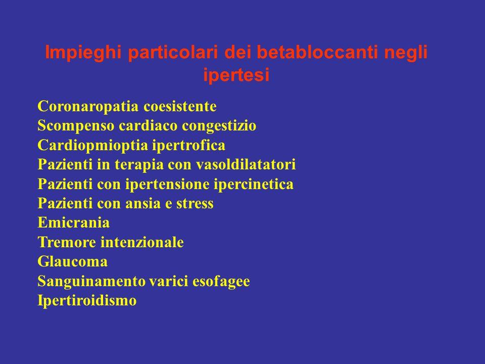Impieghi particolari dei betabloccanti negli ipertesi Coronaropatia coesistente Scompenso cardiaco congestizio Cardiopmioptia ipertrofica Pazienti in