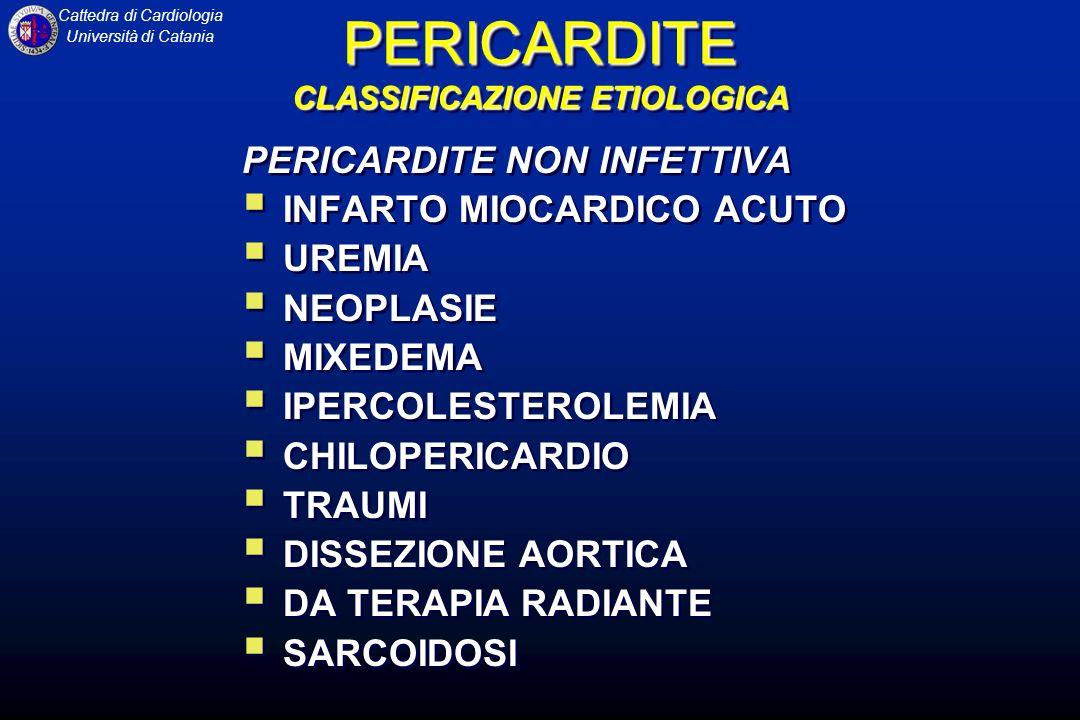 Cattedra di Cardiologia Università di Catania PERICARDITE SINTOMATOLOGIA PERICARDITE SINTOMATOLOGIA DOLORE E il segno più frequente delle pericarditi acute Ha sede retrosternale e toracica alta, irradiato posteriormente nella metà dei casi.
