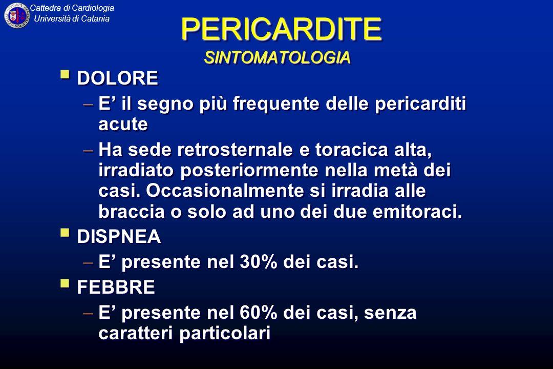 Cattedra di Cardiologia Università di Catania MIOCARDITI Elettrocardiogramma Alterazioni aspecifiche Aritmie atriali o ventricolari Disturbi della conduzione intraventricolare o atrioventricolare Alterazioni del tratto ST o dellonda T Talora comparsa di onde Q patologiche.