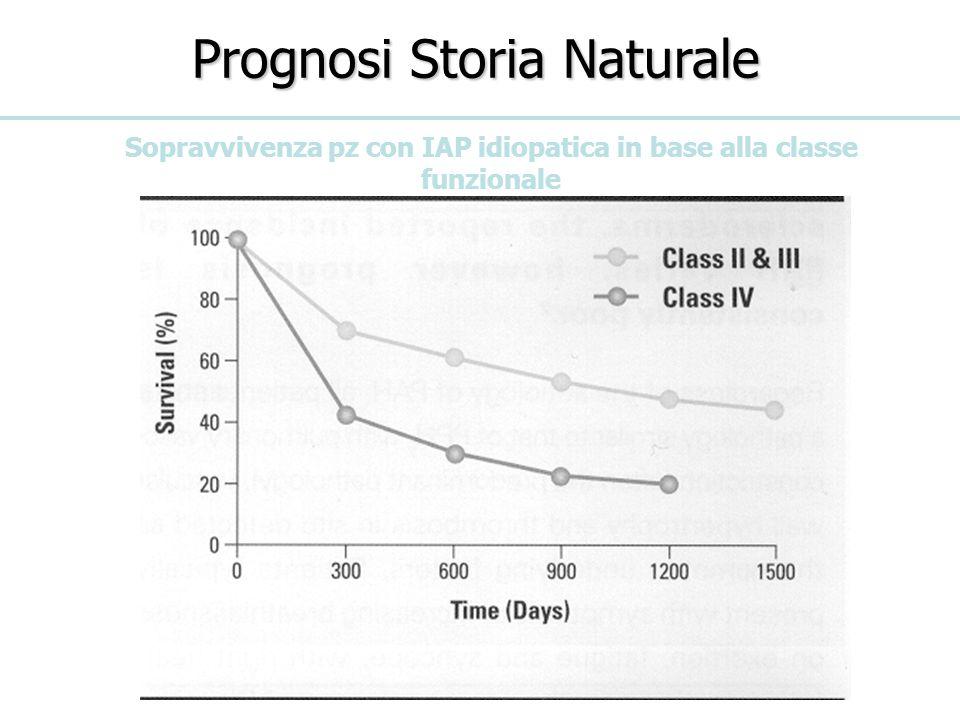 Prognosi Storia Naturale Sopravvivenza pz con IAP idiopatica in base alla classe funzionale