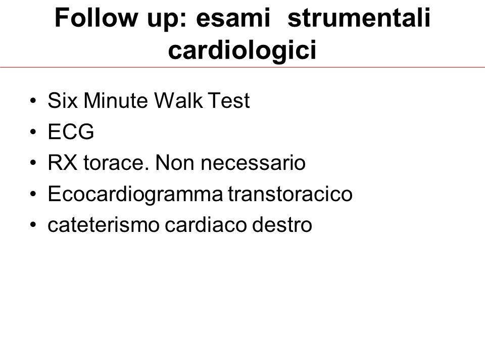 Follow up: esami strumentali cardiologici Six Minute Walk Test ECG RX torace.