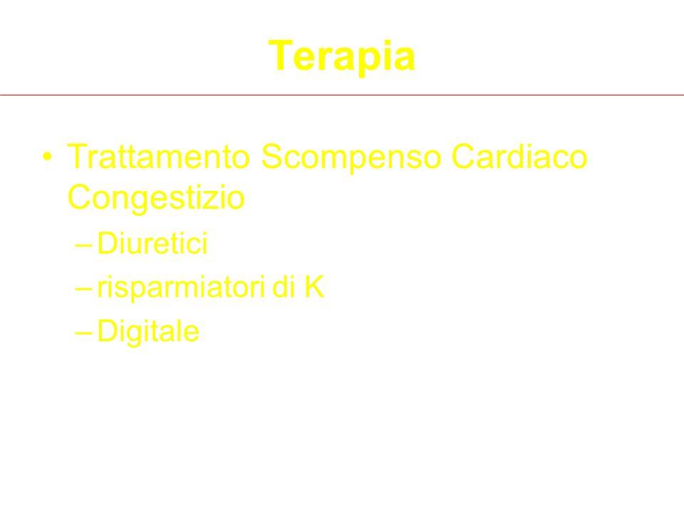 Terapia Trattamento Scompenso Cardiaco Congestizio –Diuretici –risparmiatori di K –Digitale