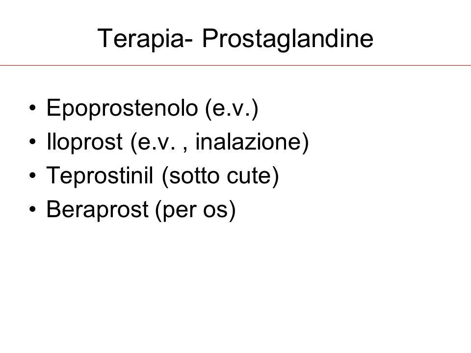 Terapia- Prostaglandine Epoprostenolo (e.v.) Iloprost (e.v., inalazione) Teprostinil (sotto cute) Beraprost (per os)