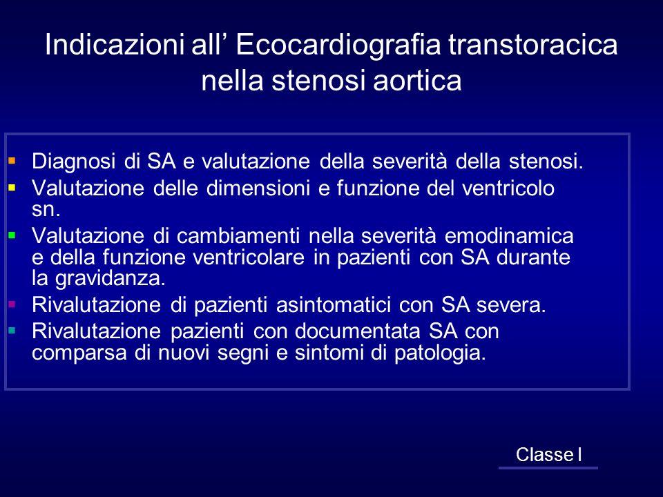 Indicazioni all Ecocardiografia transtoracica nella stenosi aortica Diagnosi di SA e valutazione della severità della stenosi. Valutazione delle dimen