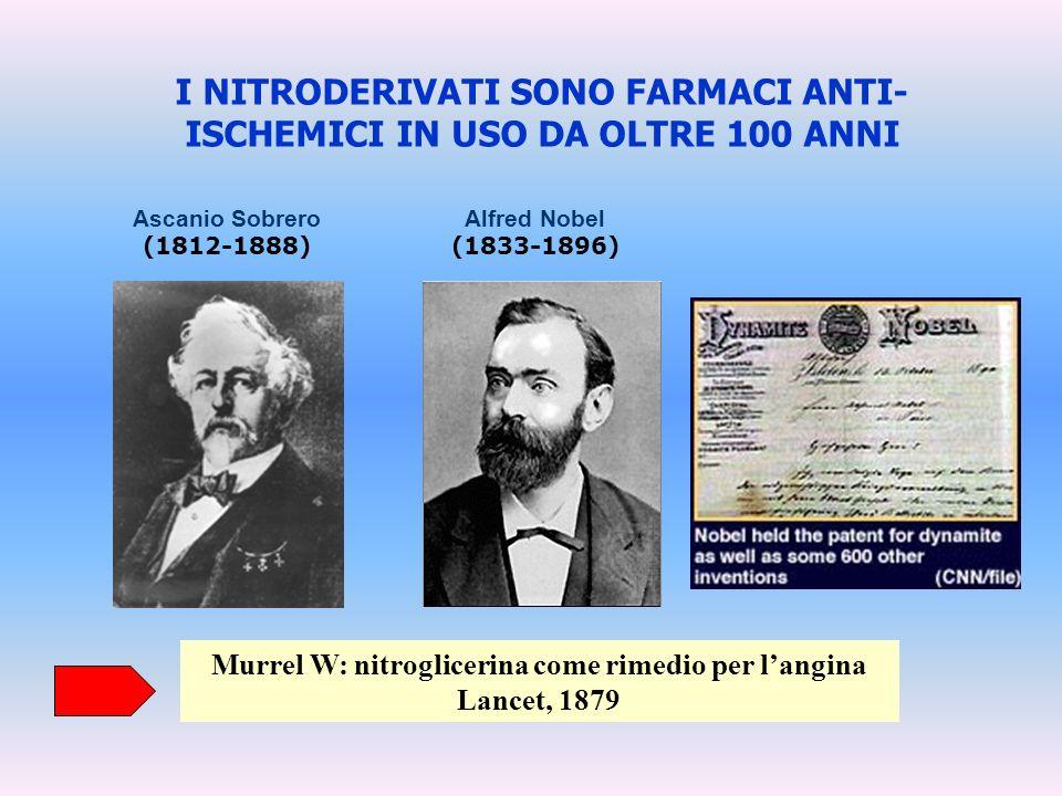 I NITRODERIVATI SONO FARMACI ANTI- ISCHEMICI IN USO DA OLTRE 100 ANNI Ascanio Sobrero (1812-1888) Murrel W: nitroglicerina come rimedio per langina La