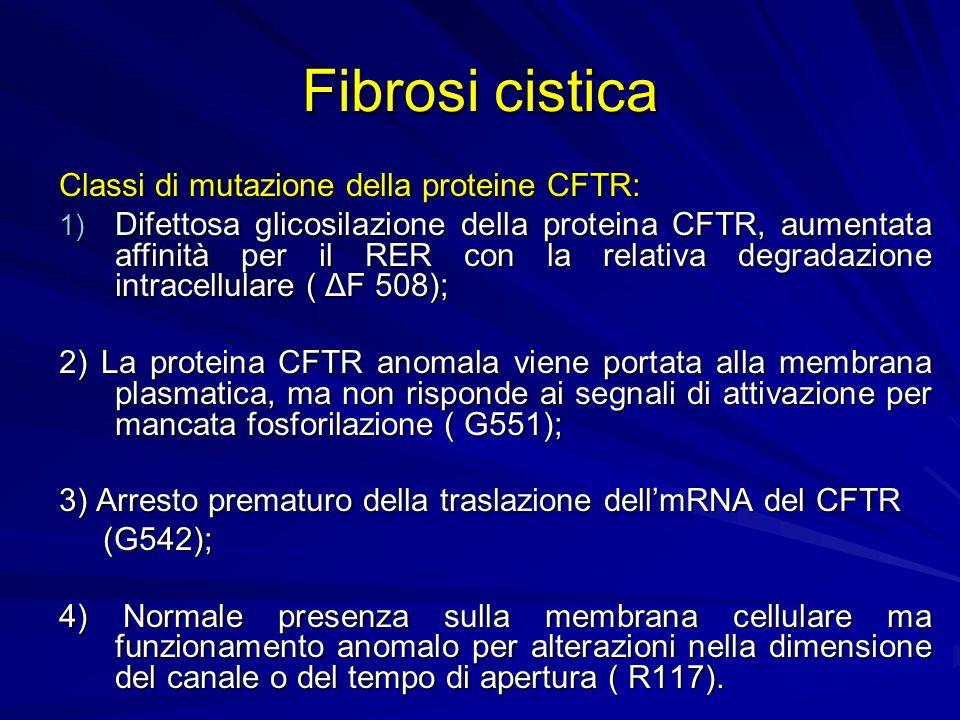 Fibrosi cistica Classi di mutazione della proteine CFTR: 1) Difettosa glicosilazione della proteina CFTR, aumentata affinità per il RER con la relativ