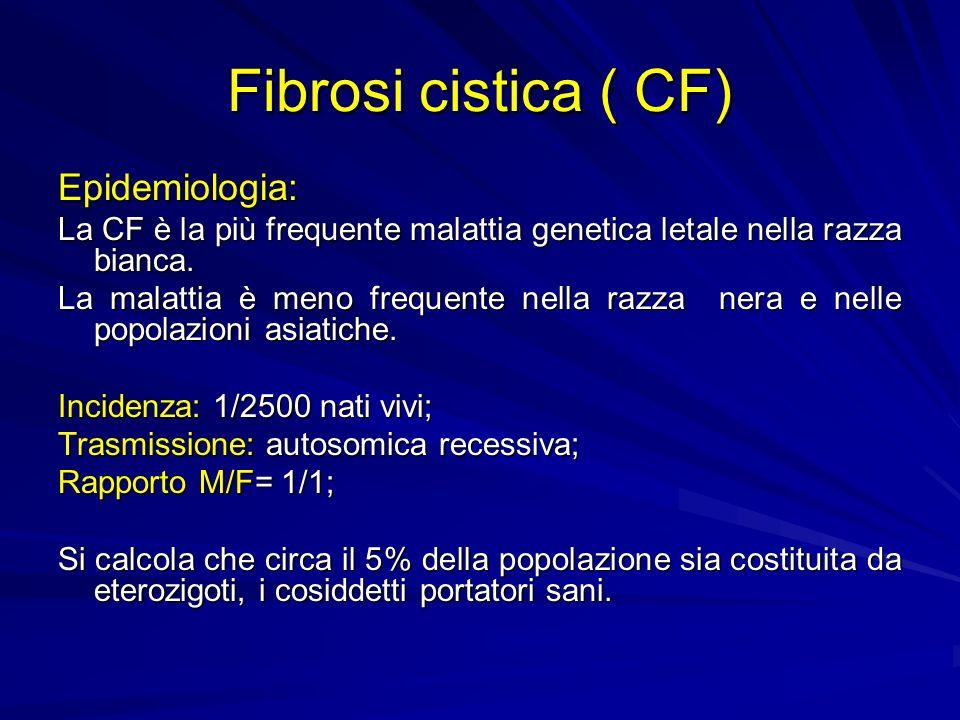 Fibrosi cistica ( CF) Epidemiologia: La CF è la più frequente malattia genetica letale nella razza bianca. La malattia è meno frequente nella razza ne