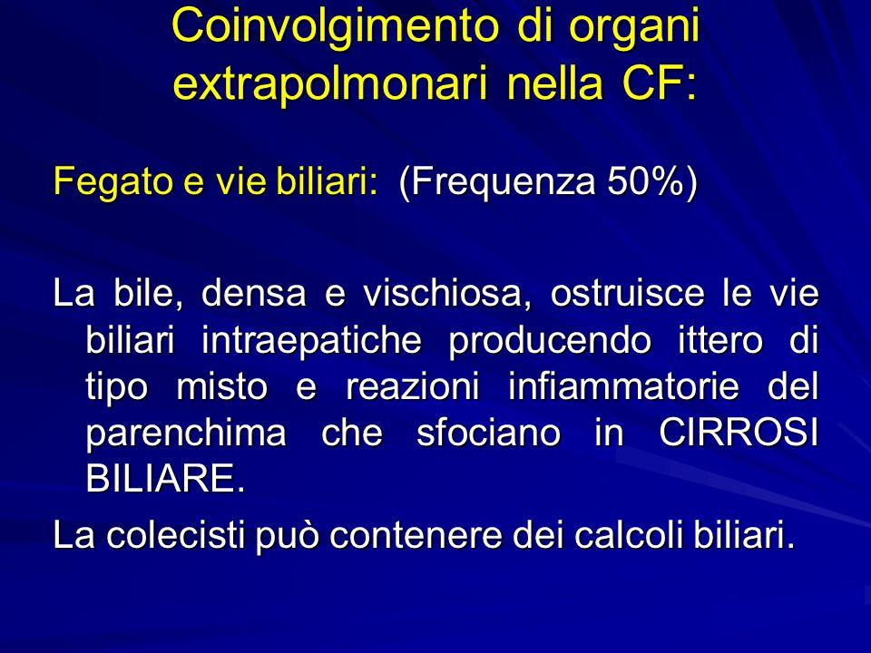 Fegato e vie biliari: (Frequenza 50%) La bile, densa e vischiosa, ostruisce le vie biliari intraepatiche producendo ittero di tipo misto e reazioni infiammatorie del parenchima che sfociano in CIRROSI BILIARE.