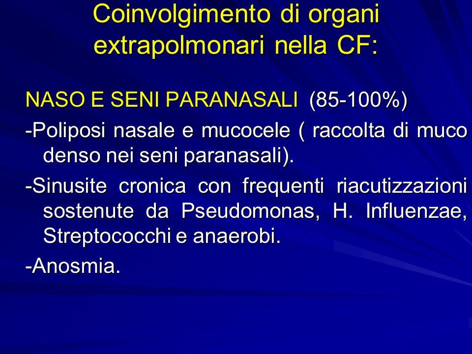 Coinvolgimento di organi extrapolmonari nella CF: NASO E SENI PARANASALI (85-100%) -Poliposi nasale e mucocele ( raccolta di muco denso nei seni paranasali).
