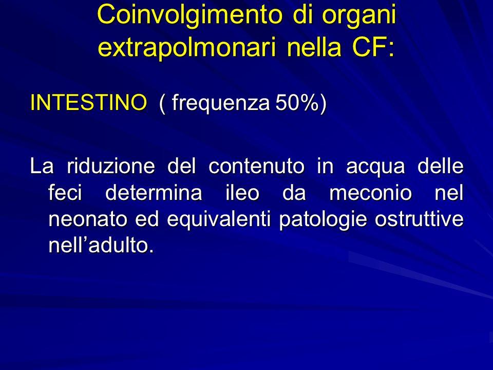 Coinvolgimento di organi extrapolmonari nella CF: INTESTINO ( frequenza 50%) La riduzione del contenuto in acqua delle feci determina ileo da meconio nel neonato ed equivalenti patologie ostruttive nelladulto.
