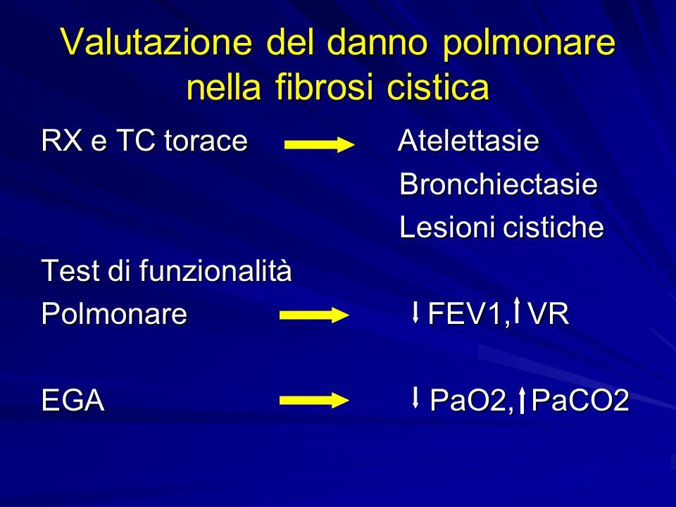 Valutazione del danno polmonare nella fibrosi cistica RX e TC torace Atelettasie Bronchiectasie Bronchiectasie Lesioni cistiche Lesioni cistiche Test di funzionalità Polmonare FEV1, VR EGA PaO2, PaCO2