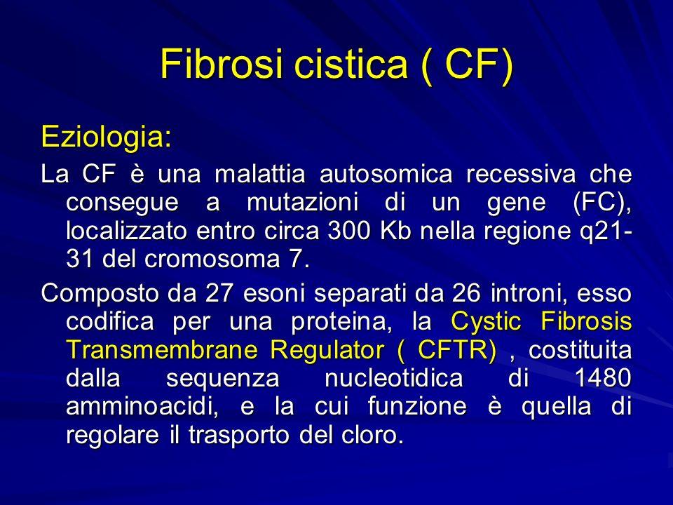 Fibrosi cistica ( CF) Eziologia: La CF è una malattia autosomica recessiva che consegue a mutazioni di un gene (FC), localizzato entro circa 300 Kb nella regione q21- 31 del cromosoma 7.