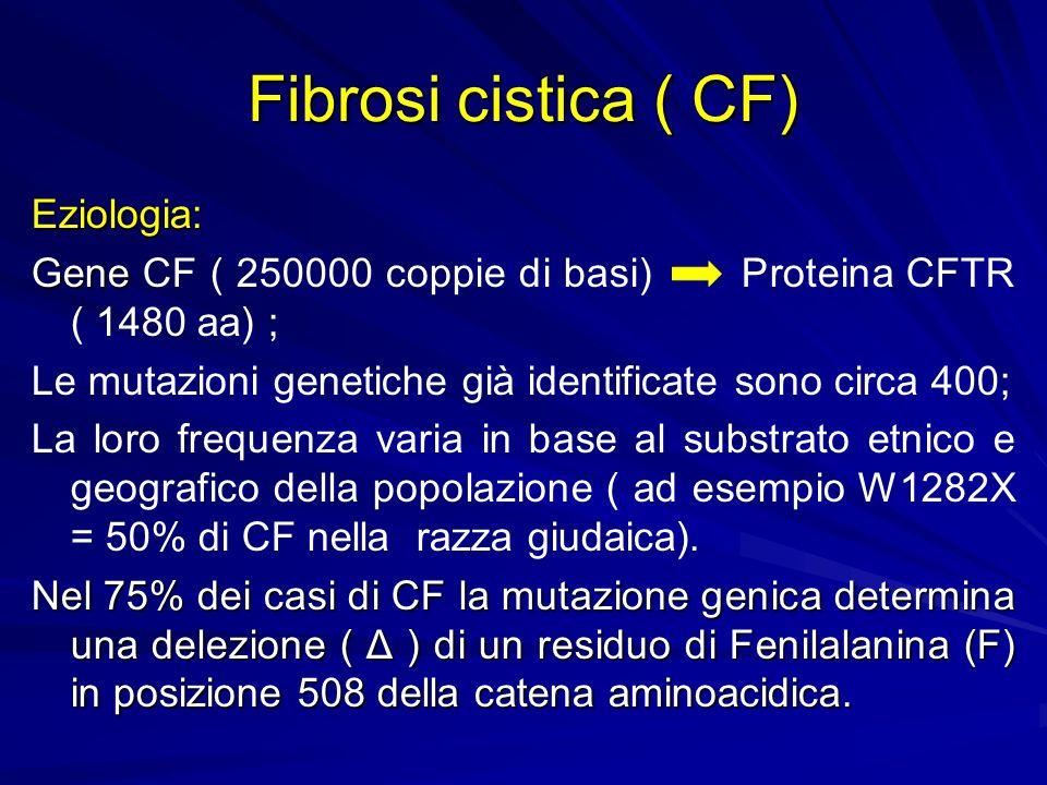 Fibrosi cistica ( CF) Eziologia: Gene Gene CF ( 250000 coppie di basi) Proteina CFTR ( 1480 aa) ; Le mutazioni genetiche già identificate sono circa 4