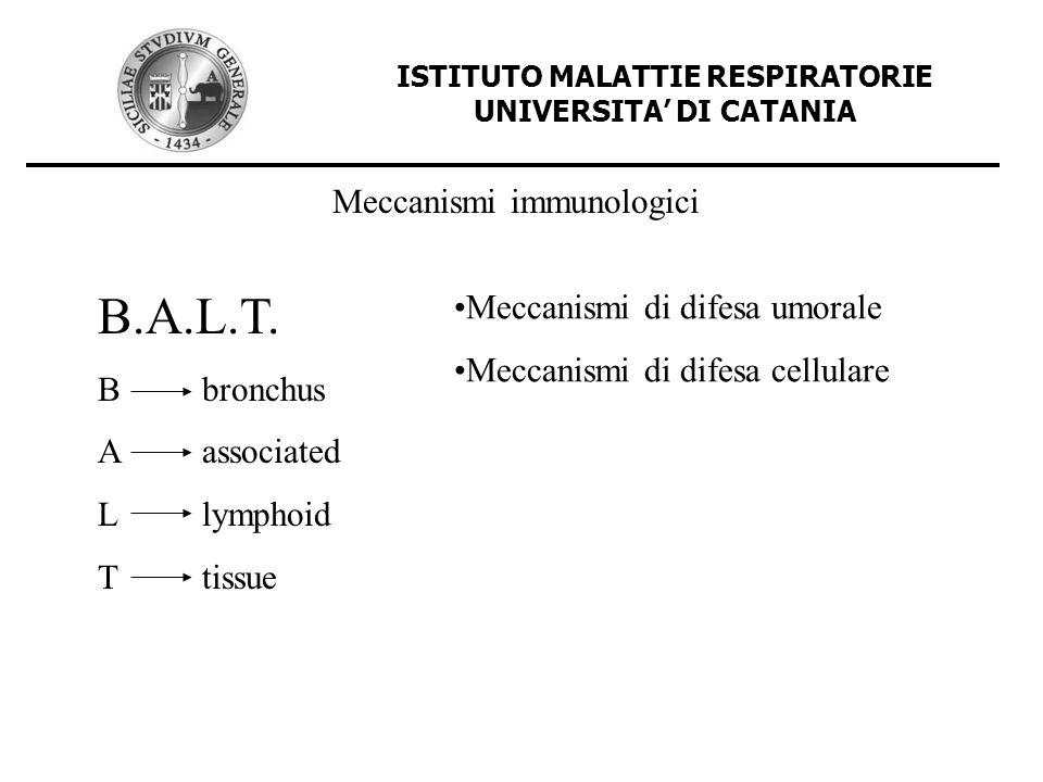 ISTITUTO MALATTIE RESPIRATORIE UNIVERSITA DI CATANIA Meccanismi immunologici B.A.L.T. Bbronchus Aassociated Llymphoid Ttissue Meccanismi di difesa umo