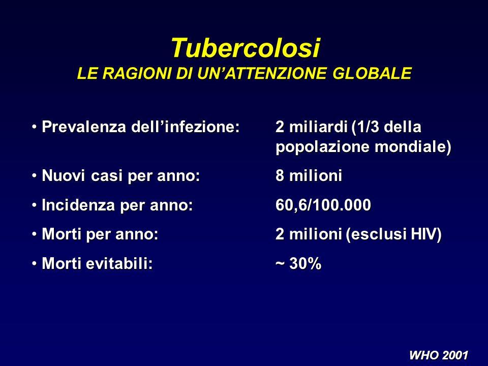 Prevalenza dellinfezione:2 miliardi (1/3 della Prevalenza dellinfezione:2 miliardi (1/3 della popolazione mondiale) Nuovi casi per anno:8 milioni Nuov