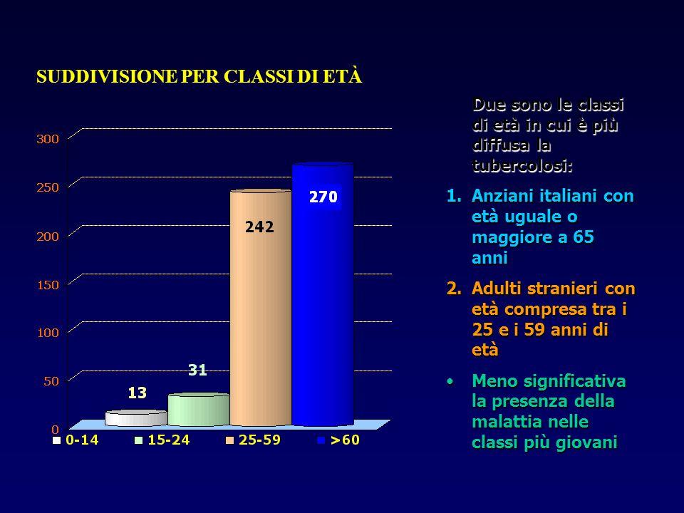 SUDDIVISIONE PER CLASSI DI ETÀ Due sono le classi di età in cui è più diffusa la tubercolosi: 1.Anziani italiani con età uguale o maggiore a 65 anni 2
