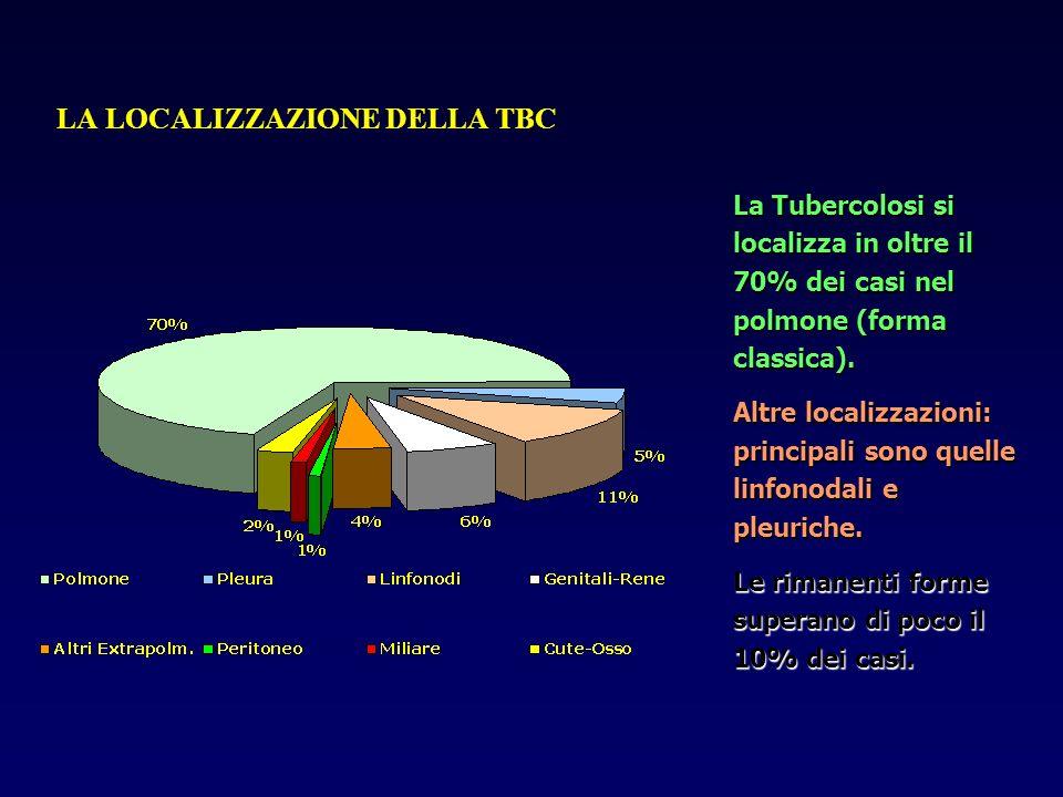 LA LOCALIZZAZIONE DELLA TBC La Tubercolosi si localizza in oltre il 70% dei casi nel polmone (forma classica). Altre localizzazioni: principali sono q