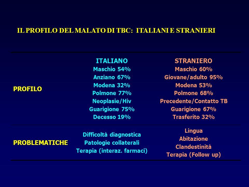 IL PROFILO DEL MALATO DI TBC: ITALIANI E STRANIERI PROFILO ITALIANO Maschio 54% Anziano 67% Modena 32% Polmone 77% Neoplasie/Hiv Guarigione 75% Decess