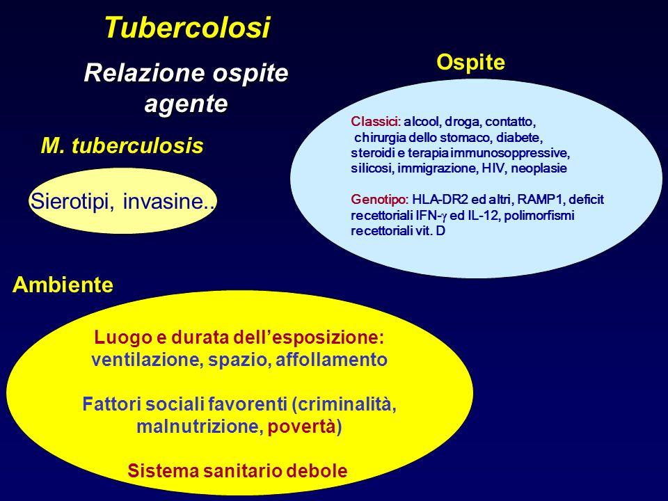 Tubercolosi Relazione ospite agente Sierotipi, invasine.. M. tuberculosis Classici: alcool, droga, contatto, chirurgia dello stomaco, diabete, steroid