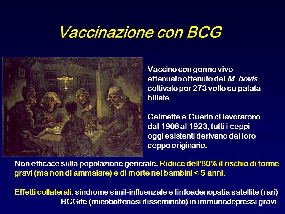 Vaccinazione con BCG Vaccino con germe vivo attenuato ottenuto dal M. bovis coltivato per 273 volte su patata biliata. Calmette e Guerin ci lavorarono