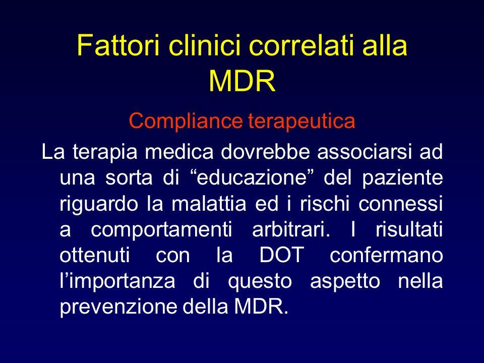 Fattori clinici correlati alla MDR Compliance terapeutica La terapia medica dovrebbe associarsi ad una sorta di educazione del paziente riguardo la ma
