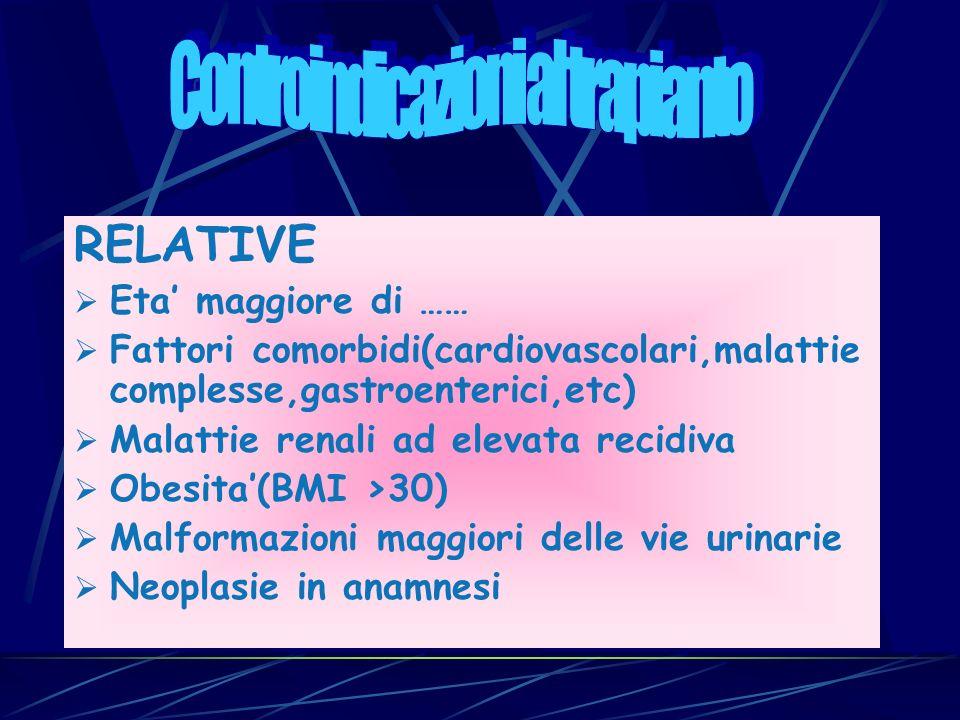 RELATIVE Eta maggiore di …… Fattori comorbidi(cardiovascolari,malattie complesse,gastroenterici,etc) Malattie renali ad elevata recidiva Obesita(BMI >