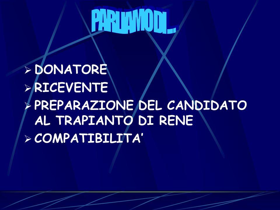 DONATORE RICEVENTE PREPARAZIONE DEL CANDIDATO AL TRAPIANTO DI RENE COMPATIBILITA