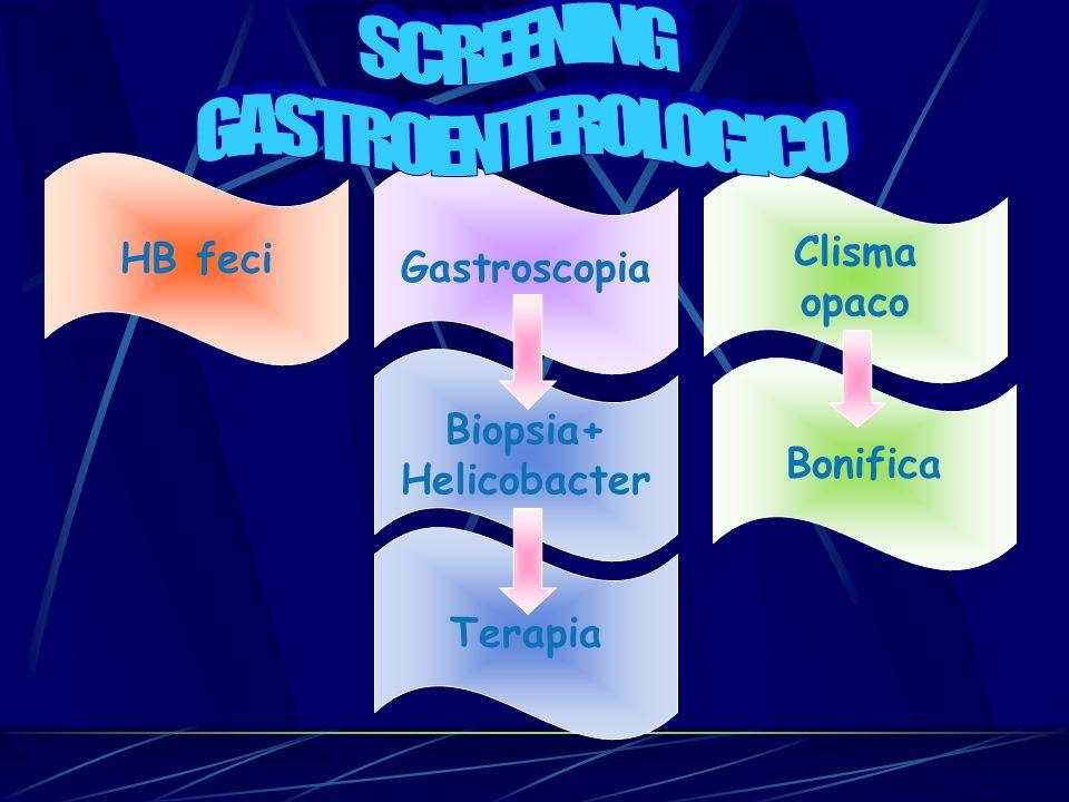 Clisma opaco Gastroscopia Biopsia+ Helicobacter HB feci Terapia Bonifica