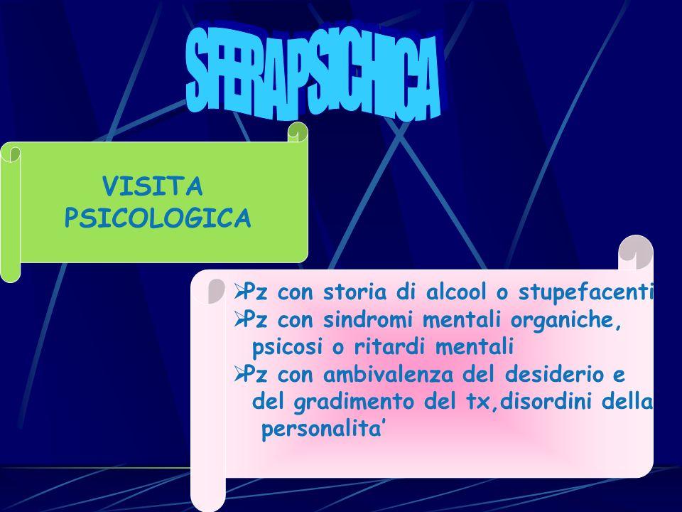 VISITA PSICOLOGICA Pz con storia di alcool o stupefacenti Pz con sindromi mentali organiche, psicosi o ritardi mentali Pz con ambivalenza del desideri
